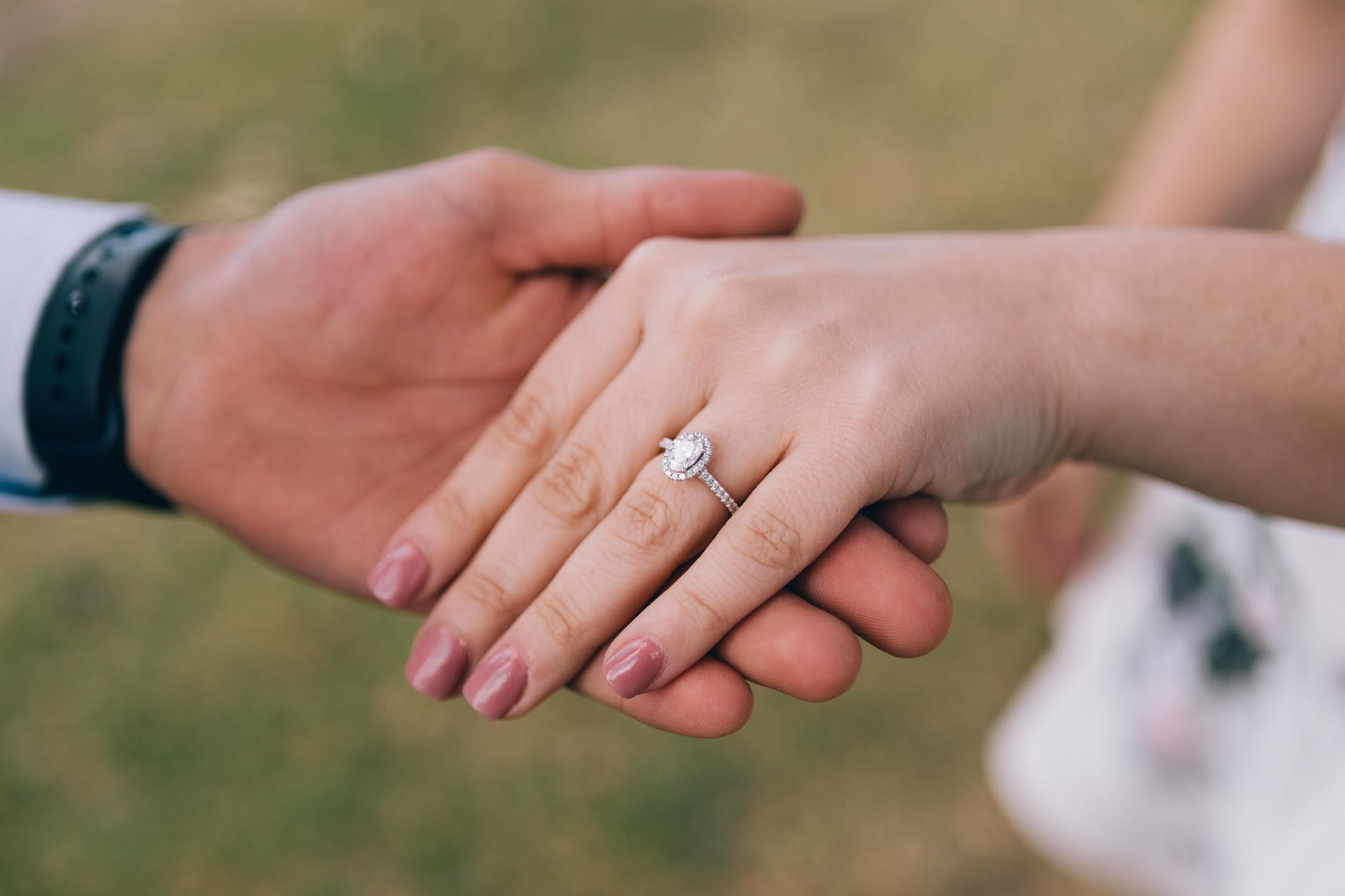 engagement ring worn by the bride to be